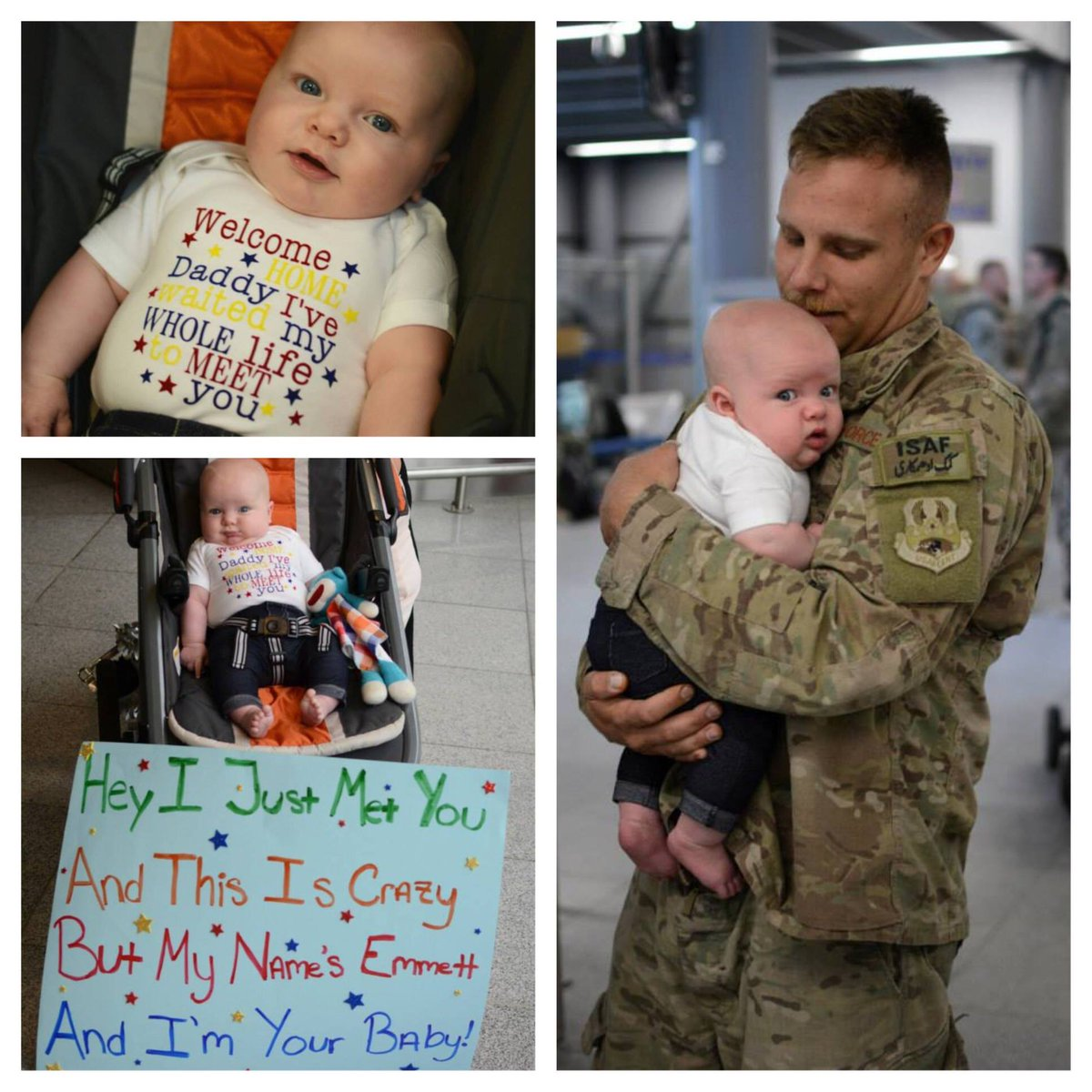 "#MIlitaryMonday pic from Elizabeth: ""My son meeting his daddy for his first time upon his return from Afghanistan."" http://t.co/8XQojicPAY"