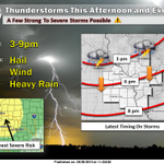 Here is a look at timing for the expected thunderstorms this afternoon/evening. http://t.co/N9wh3XXPEQ