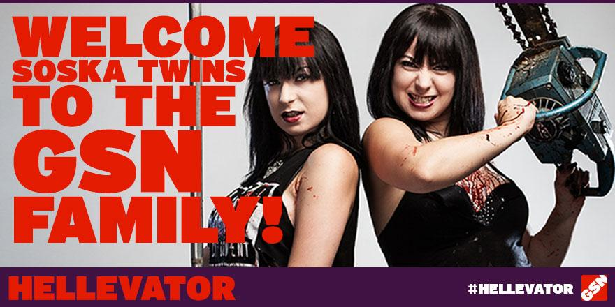 Let's give a chilling @HELLEVATORshow welcome to The Soska Sisters!