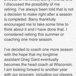 Statement from #Badgers head coach Bo Ryan http://t.co/pVSeO5eATC