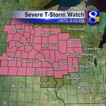SEVERE T-STORM WATCH for most of the News 8 Viewing Area until 8:00pm. #wiwx #mnwx http://t.co/gtOm4F80ZM