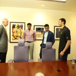 The Lakers 2015 #NBADraft class with their new boss. http://t.co/9fe5CcesZY