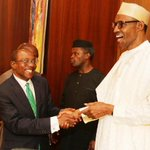 President Buhari during inauguration of NEC w/ Governor of the Central Bank of Nigeria Mr. Godwin Emefiele, 29 June. http://t.co/I2WAIHIGhJ