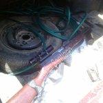 #Almomento el arma encontrada dentro del vehículo donde viajaba la persona fallecida en punta Vizcaya en el rosario http://t.co/xiunWpQxxb