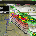 Storms moving south at 30 mph. Golfball size hail and lightning with these storms. Stay safe. #kareweather http://t.co/dDhb2iUlEC