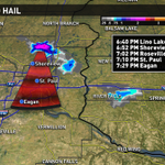 "Storm moving south in Eastern metro with hail up to 2"" possible. Move indoors now. #kareweather http://t.co/2OEKGAzsoM"