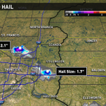 Right now the best shot of large hail is in Blaine and on Interstate 94 west of Hudson, storm moving so. #kareweather http://t.co/9sUGqTAqrC