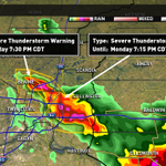 Severe T-storm Warnings Anoka, Ramsey, Washington counties thru 7:30. Producing large hail, lightning, heavy rain. http://t.co/DbdNEQSNZO