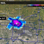 Hail core with highest potential of large hail is north of Minneapolis right now moving south. #kareweather http://t.co/YmMzFaiJiJ