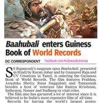 RT @KollywudCinema: #Baahubali Enters Guinness book of records @RanaDaggubati @tamannaahspeaks @ssrajamouli @ThenandalFilms @StudioGreen2 h…