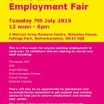 Exhibitors attending the Skills & Employment Fair on 7 July include @ThompsonAVC @G4S_UK @angel_springs #visitwolves http://t.co/sGgiau8yIC