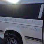 El mensaje que le dejaron al dueño de la camioneta, el dice no tener problemas con nadie. Hechos en Brisas Pte http://t.co/mux155lQAR