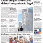 Capa de hoje: Dilma diz que 'não respeita delator' e nega doação ilegal http://t.co/NhyOHXE1qx http://t.co/Z6M0EPzZUg
