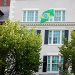 Flag of Brazil, dating back to 1889, flying above Blair House, honoring visit of Pres. Dilma Rousseff. http://t.co/hHn2WIdl5s