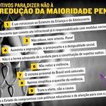 Eu sou contra a redução da maioridade penal! Seja você também. Leia os 10 motivos abaixo! #ReduçaoNãoÉSolução http://t.co/rUspeprPiR