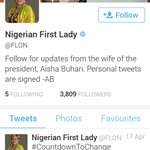 "Hey what do you know, Aisha Buhari is the ""Nigeria First Lady"" Hehehe. Thanks to @adeyanjudeji for this revelation http://t.co/Ef1iysvIRR"