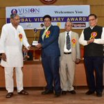Receving Global Visionary Award from Dr.Anamik Shah, Vice Chancellor of Gujarat Vidyapith (founded by Mahatma Gandhi) http://t.co/lMqDLlNId5