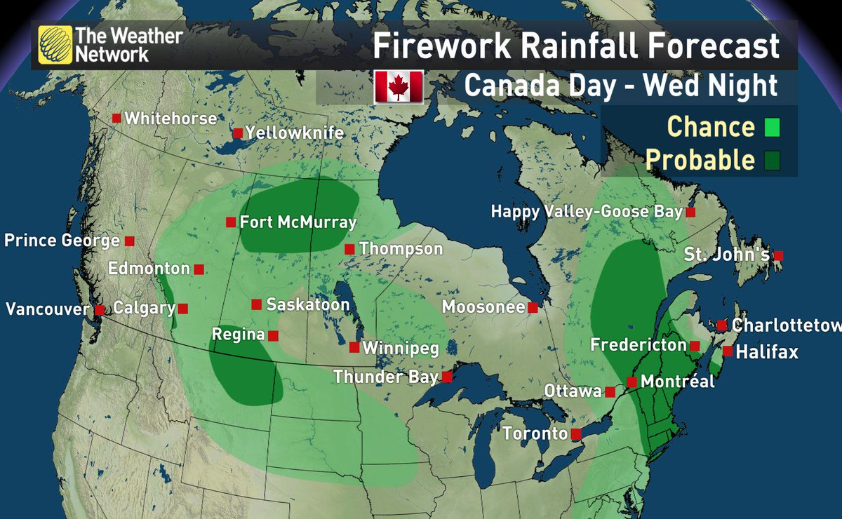 Nicole Karkic (@NicoleKarkic): Where we have the best chance for rain on #CanadaDay is in dark green.  Light green is a chance.  #CanadaDay2015 http://t.co/Al8VSmUEwt