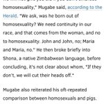 This is what the President of Zimbabwe, Robert Mugabe had to say about Obama (for championing gay rights) and gays. http://t.co/Pbc5SZape5