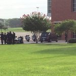 Sgt. Chris Kelley and fellow officers arrive at Shoreline Church @keyetv http://t.co/DJzwVn5Lic