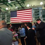 Waiting for Chris Christie in his high school gym http://t.co/jUh5ucT8P3