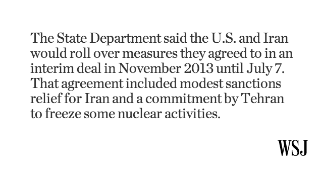 The deadline on the Iran nuclear talks has been extended until July 7: http://t.co/VzAUx0AwO7