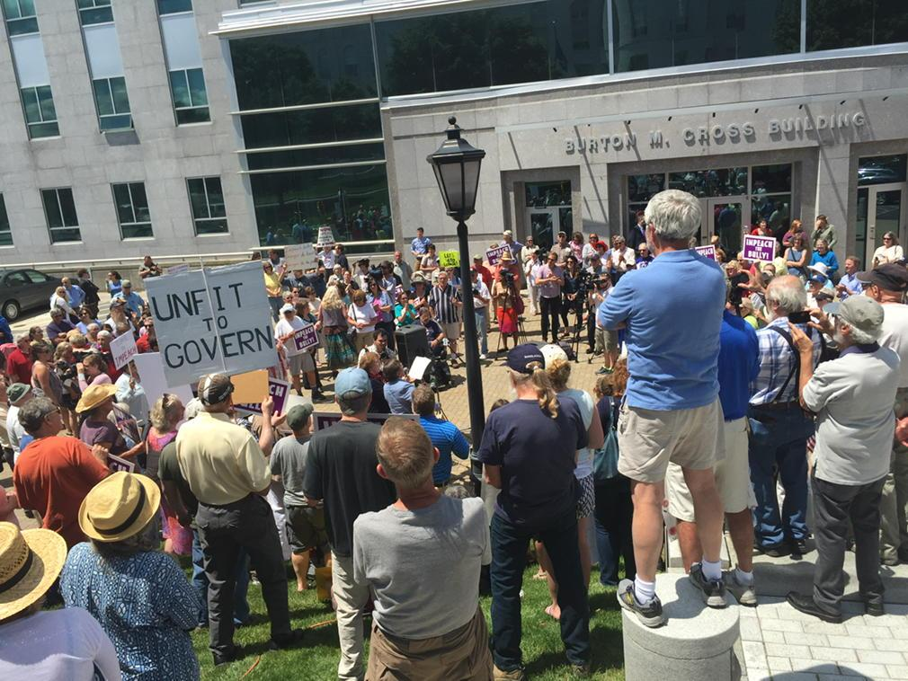 It's a big crowd calling for investigation and possible impeachment of Gov. LePage. #mepolitics http://t.co/oWzMr9sqvW