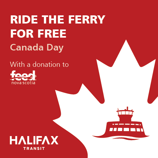 To celebrate #CanadaDay, ride the @HFXTransit ferry for free all day with a donation to @FEEDNOVASCOTIA! http://t.co/l9ynq2LmqK