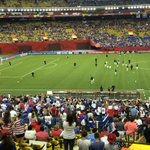 The #USA team has taken the field for warmups! 45minutes until kickoff on @FOXTV! #USWNT #FWWConFOX http://t.co/2ybqoQDto1