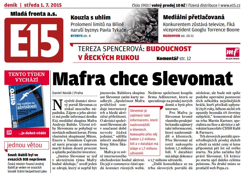 Babišova @press_mafra chce koupit @slevomat, píše zítřejší @E15news http://t.co/wEHK13EvpS