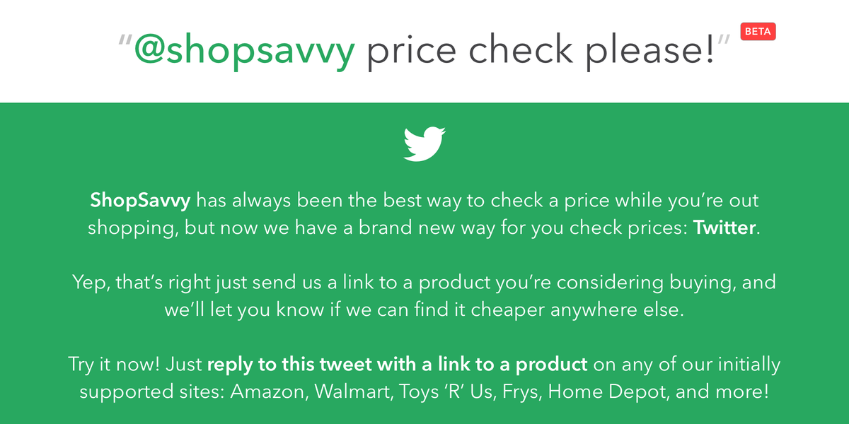 We made a new thing that lets you compare prices using Twitter! http://t.co/pU0Qq3LAcy  Like? RT to spread the word! http://t.co/YhaUfHSORv