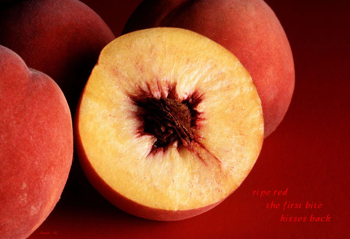 ripe red    the first bite    kisses back        #haiku #haiga #peach #ripe #red kiss #bite    http://t.co/24Ka214uR7 http://t.co/jvwVYFP2Uv