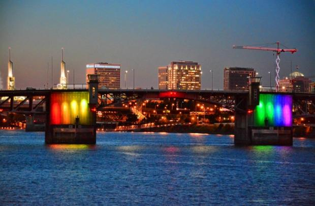 In honor of #MarriageEquality, @Multco's Morrison Bridge will feature a rainbow lighting display this week http://t.co/7djnXli7Ba