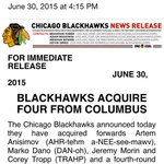BREAKING: #Backhawks trade Brandon Saad to Columbus. @MarkLazerus is working on details http://t.co/rqpJ4s7RNk