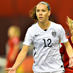 #USWNT midfielder @laurenholiday12 is back in the lineup today playing alongside @moeebrian and @CarliLloyd. http://t.co/8QnlggM38n
