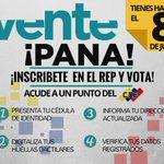 #VentePana tienes hasta el #8J para inscribirte en #CNE. No dejes morir a nuestra amada #Venezuela!! http://t.co/jeGTiPbevH