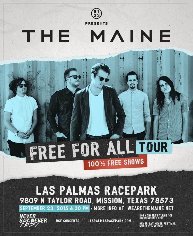 FREE FOR ALL TOUR! w/ THE MAINE! Sept 23 @LasPalmasRace & yes its free. @themaine http://t.co/ni3pOixinP RT http://t.co/csDTdjxXuX