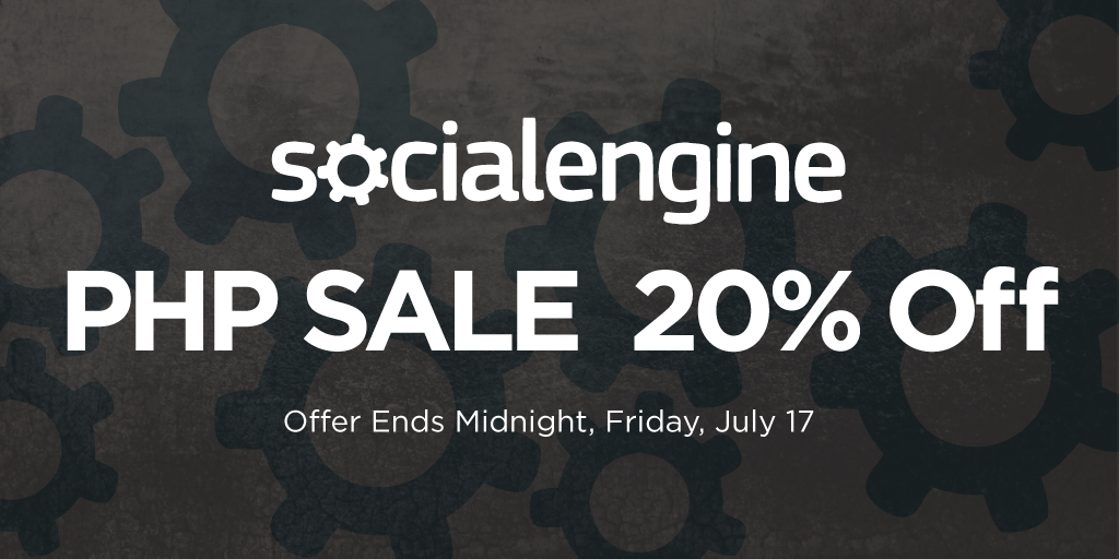 EXCLUSIVE LIMITED-TIME OFFER: 20% off your purchase of #SocialEngine PHP now through July 17! http://t.co/Je5WiKErLC http://t.co/GCA2Uw6sAb