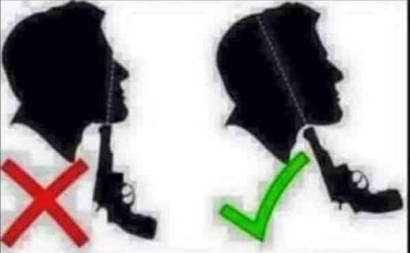 الطريقة الصحيحة للانتحار بالمسدس .. بدل ماتعيش وشك مشوه .. شير في الخير http://t.co/wnUaAMcuN4