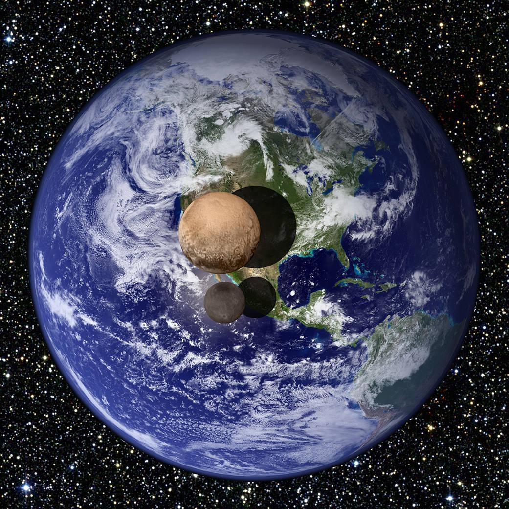 Olha só a montagem fotográfico comparando a Terra, Plutão e seu maior satélite Caronte. Plutão é um anão distante! http://t.co/GtygYgoXbF