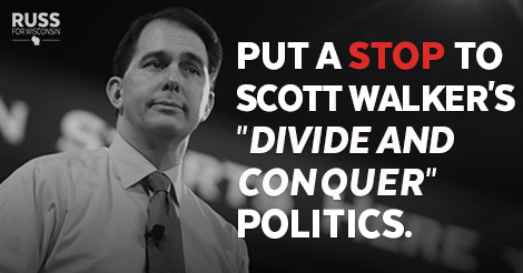"""Join us and stand together to put a stop to @ScottWalker's """"divide and conquer"""" politics → http://t.co/AxjHOCo3bF http://t.co/u7OBBsGMnw"""