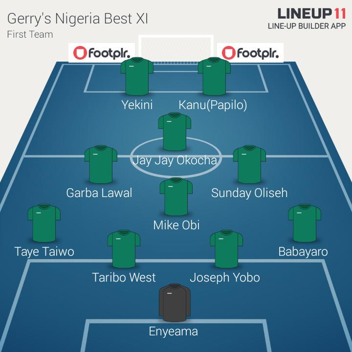 My All time Nigeria Super Eagles Best XI (First Team)  @NGSuperEagles @thenff http://t.co/KPrHPaQesO