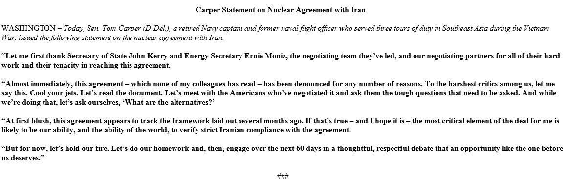 I urge critics of this #IranDeal to cool your jets and give it the thoughtful consideration it deserves http://t.co/t0O39uMWj2