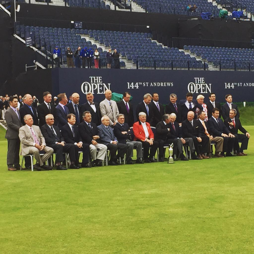 Past open champions line up outside the R&A #golf #standrews #TheOpen http://t.co/0T1vn44F4o