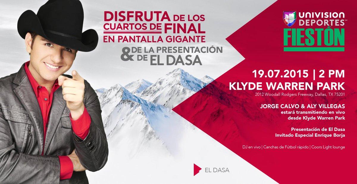 ¡Este 19 de julio llega #UDFiestion a @KlydeWarrenPark! Conoce a @eldasa.. A partir de las 2PM. #CopaOro #Semifinales http://t.co/UdaScmq2pu