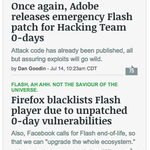 Yesterday—like many days it seems—was not great for Flash users. 1 http://t.co/ZsXgM2SWRF | 2 http://t.co/8iA4BB8bTR http://t.co/vqAS6DmhIa