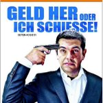 "#Greferendum. A ""Dádme el dinero o disparo"" que publica Handelsblatt, un tuit griego responde. http://t.co/fEcwjrG1Mz"