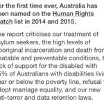Australian on Human Rights Watch list #auspol http://t.co/diNdTqJFFS