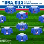 #USMNT Starting XI vs. Guatemala in Nashville! #USAvGUA LIVE at 5:30pm CT on @FOXSports1, @UniMas, @UnivisionSports http://t.co/OUea959InE