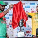 .@ImMashrafe and @faf1307 unveils T20I, ODI & Test Series trophy today at SBNCS. T20I series starts tomorrow. #BANvSA http://t.co/OH0nh8r7f9